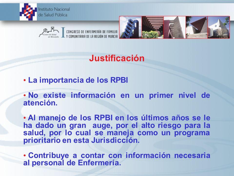 Justificación La importancia de los RPBI