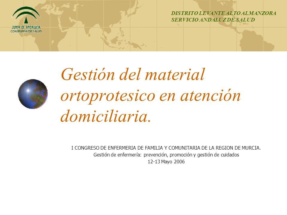 Gestión del material ortoprotesico en atención domiciliaria.