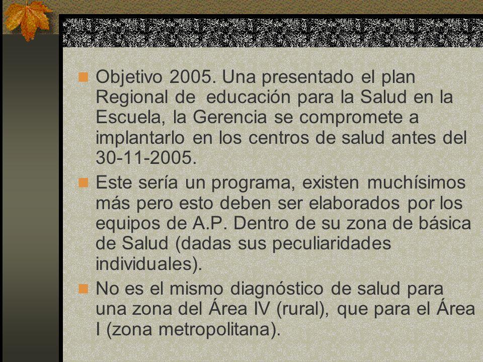 Objetivo 2005. Una presentado el plan Regional de educación para la Salud en la Escuela, la Gerencia se compromete a implantarlo en los centros de salud antes del 30-11-2005.