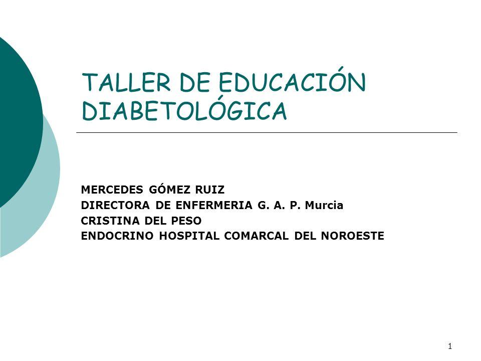 TALLER DE EDUCACIÓN DIABETOLÓGICA