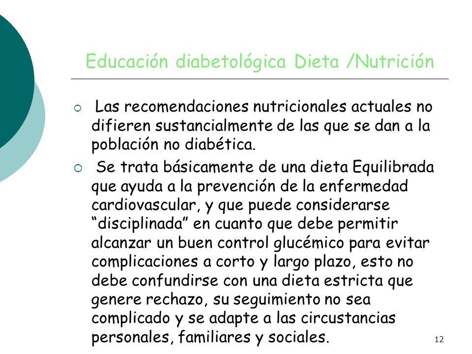 Educación diabetológica Dieta /Nutrición