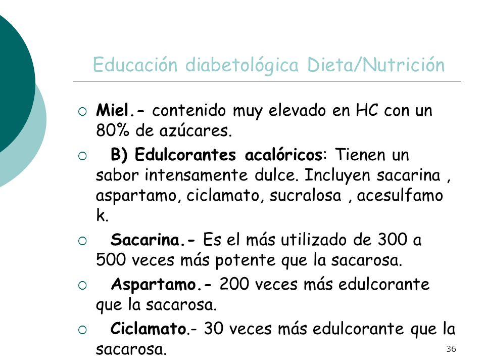 Educación diabetológica Dieta/Nutrición