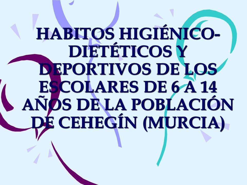 HABITOS HIGIÉNICO-DIETÉTICOS Y DEPORTIVOS DE LOS ESCOLARES DE 6 A 14 AÑOS DE LA POBLACIÓN DE CEHEGÍN (MURCIA)
