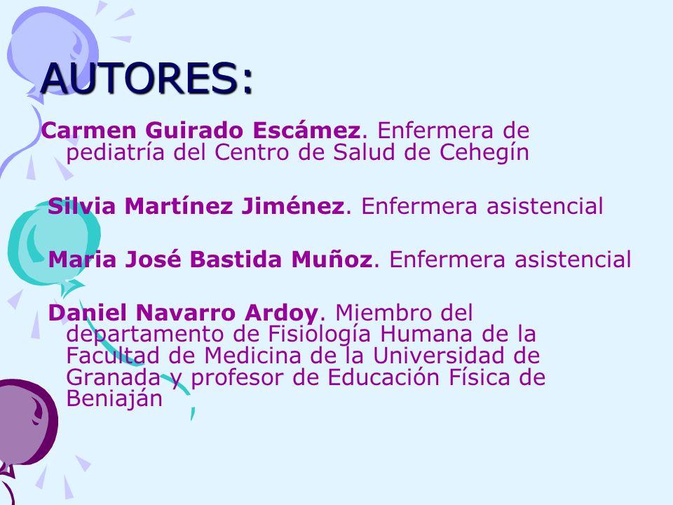 AUTORES: Carmen Guirado Escámez. Enfermera de pediatría del Centro de Salud de Cehegín. Silvia Martínez Jiménez. Enfermera asistencial.