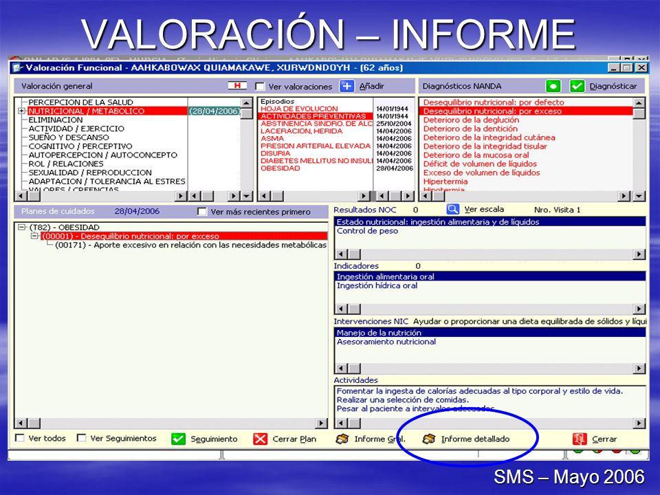 VALORACIÓN – INFORME SMS – Mayo 2006