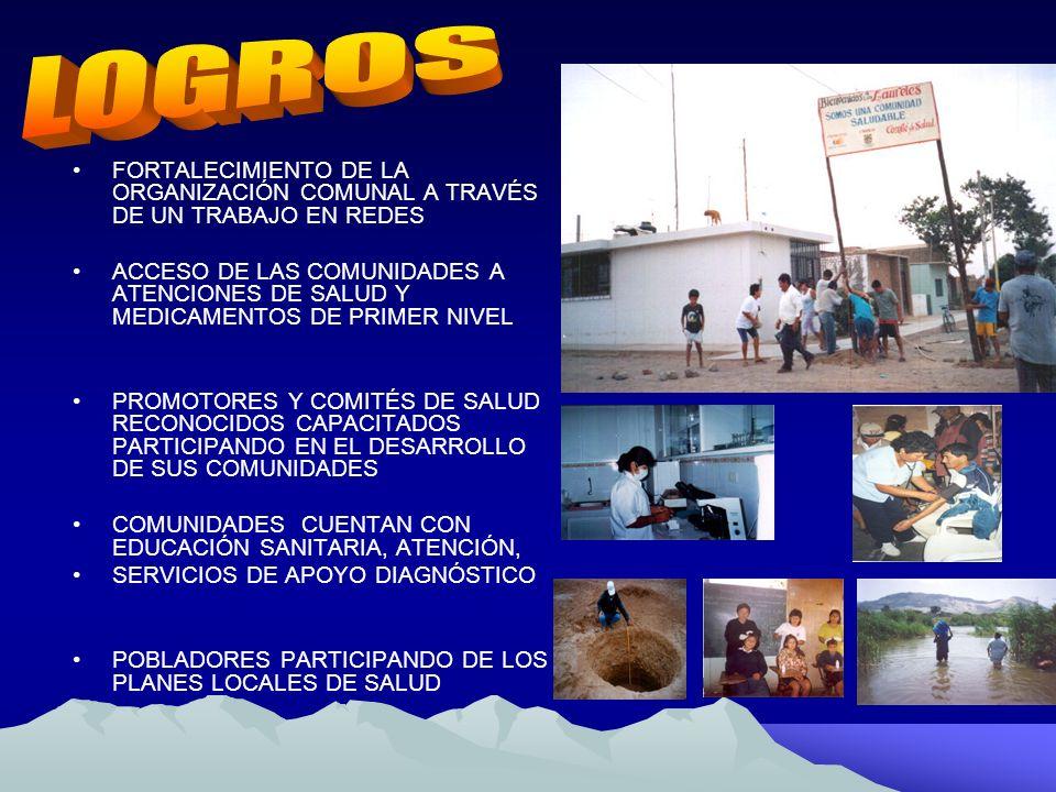LOGROS FORTALECIMIENTO DE LA ORGANIZACIÓN COMUNAL A TRAVÉS DE UN TRABAJO EN REDES.