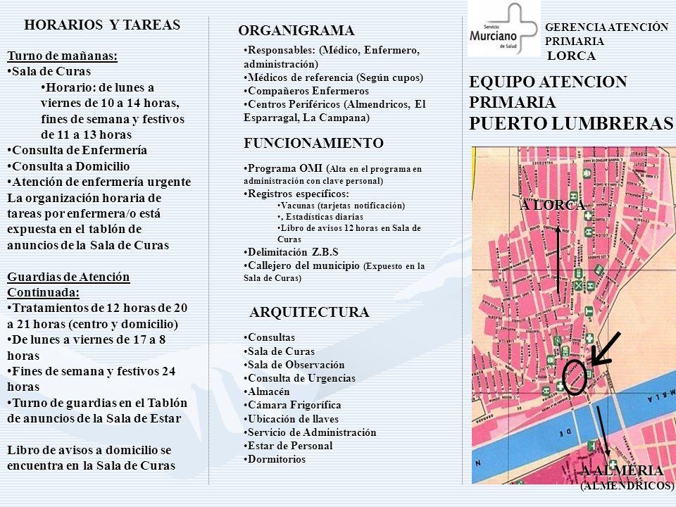 PUERTO LUMBRERAS EQUIPO ATENCION PRIMARIA HORARIOS Y TAREAS