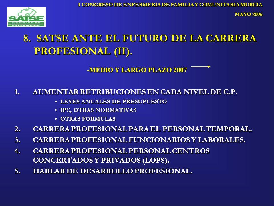 8. SATSE ANTE EL FUTURO DE LA CARRERA PROFESIONAL (II).
