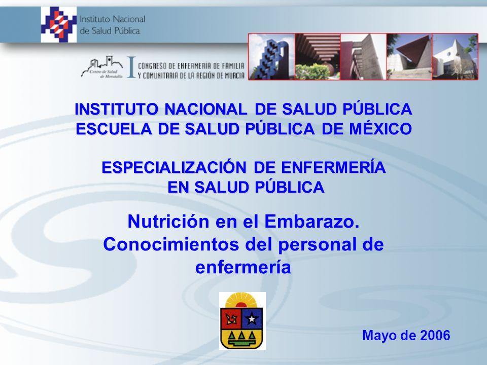 Nutrición en el Embarazo. Conocimientos del personal de enfermería