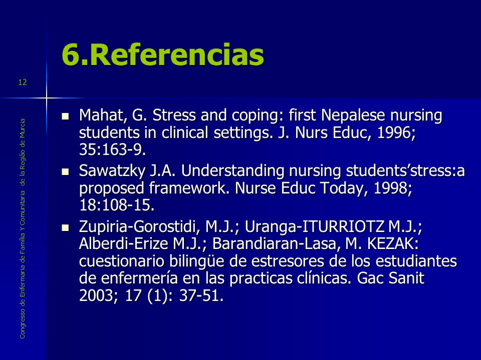 6.ReferenciasMahat, G. Stress and coping: first Nepalese nursing students in clinical settings. J. Nurs Educ, 1996; 35:163-9.