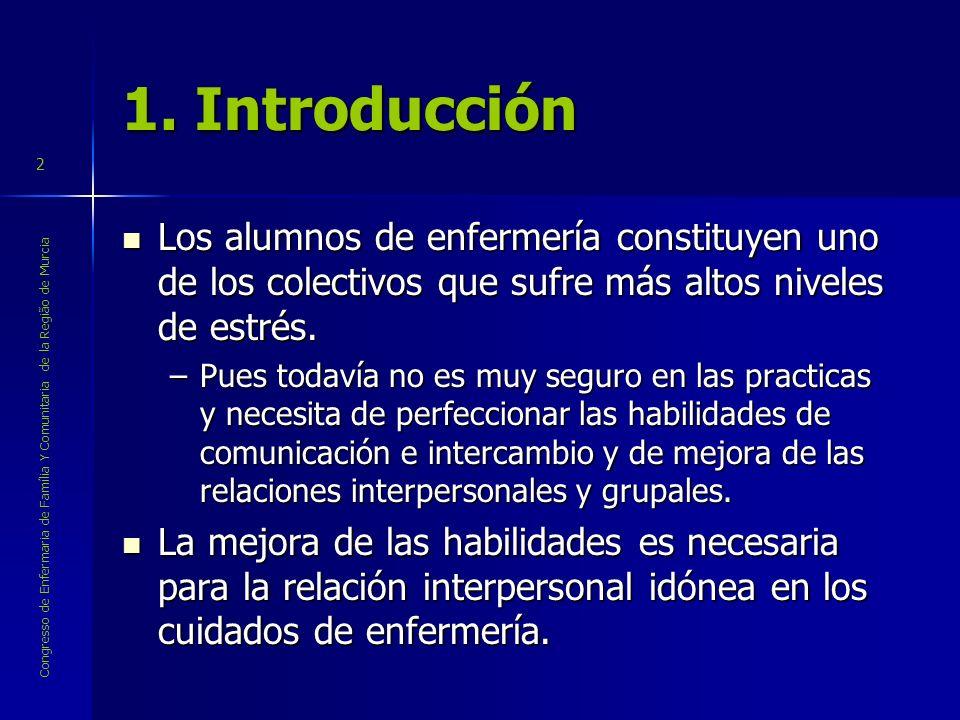 1. Introducción Los alumnos de enfermería constituyen uno de los colectivos que sufre más altos niveles de estrés.