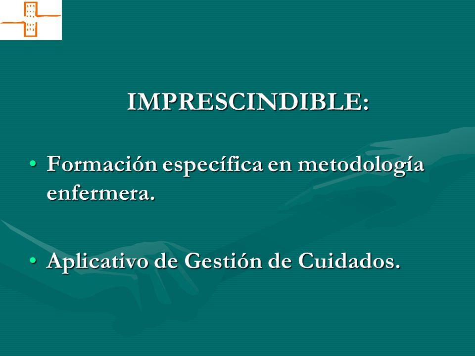 Formación específica en metodología enfermera.