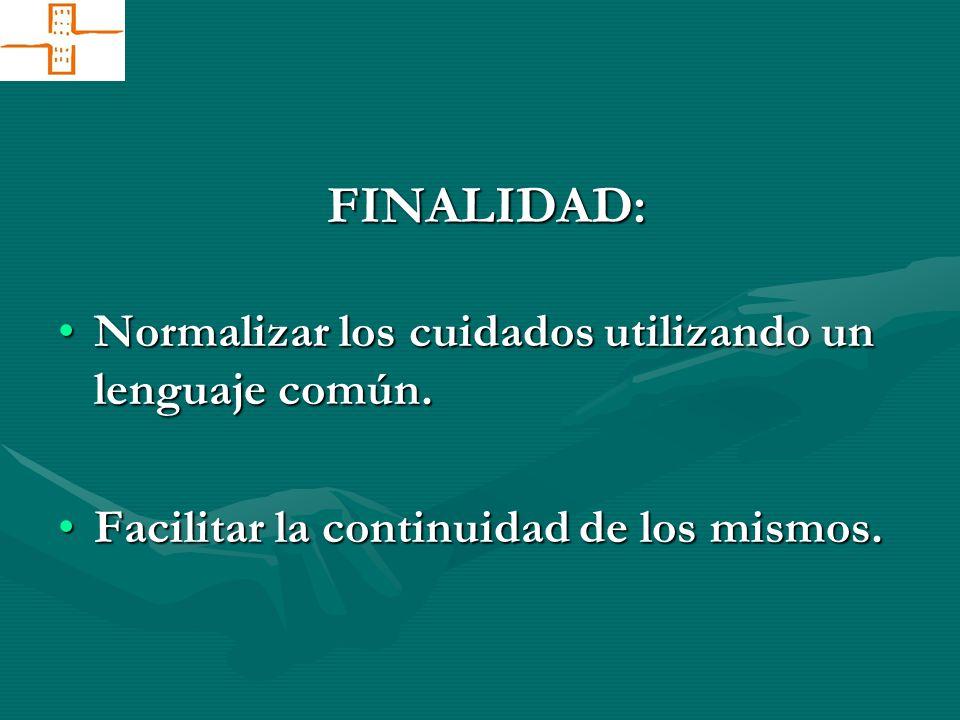 FINALIDAD: Normalizar los cuidados utilizando un lenguaje común.