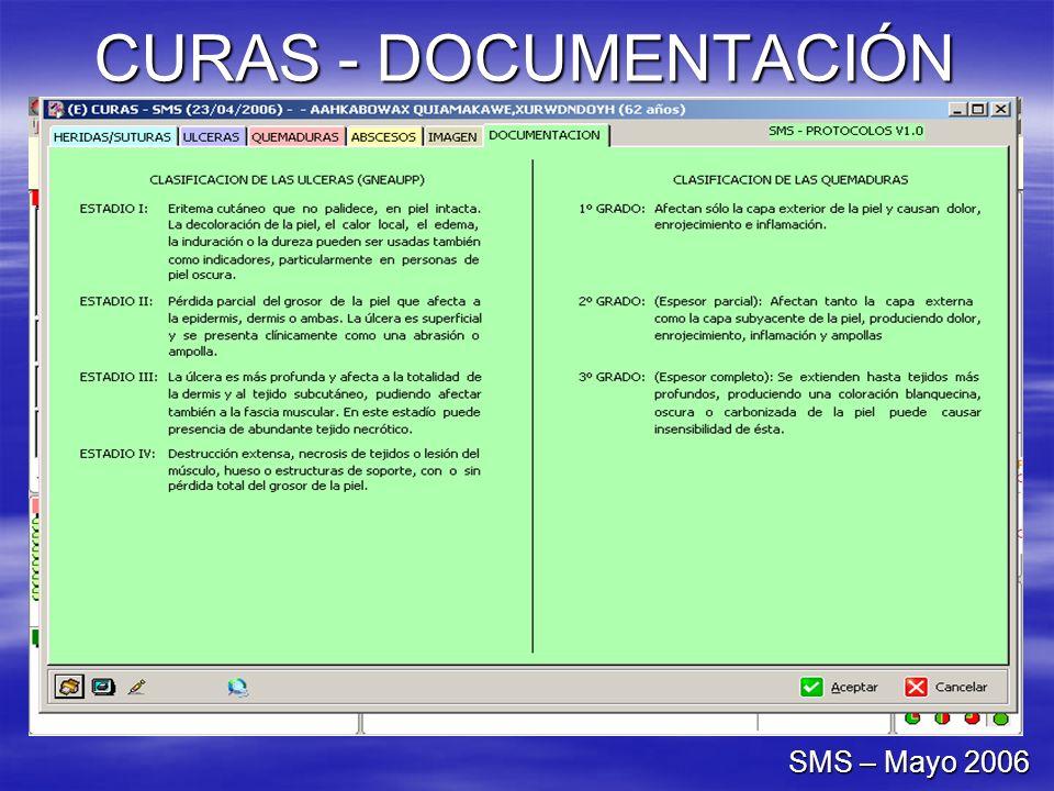 CURAS - DOCUMENTACIÓN SMS – Mayo 2006