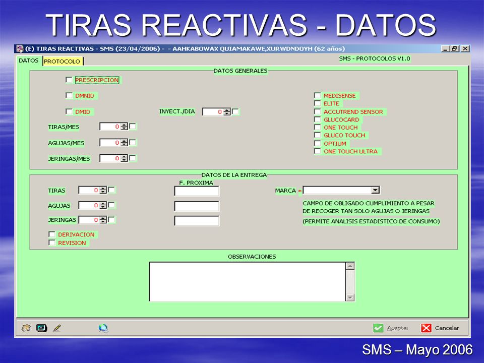 TIRAS REACTIVAS - DATOS