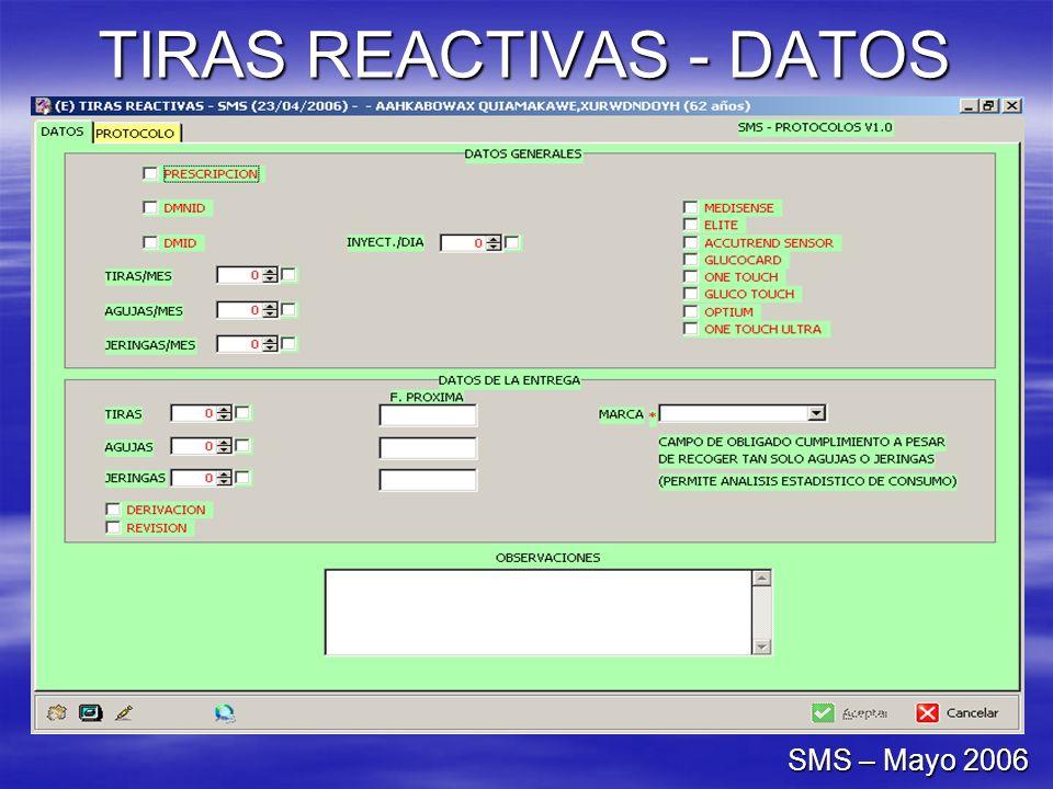 TIRAS REACTIVAS - DATOS