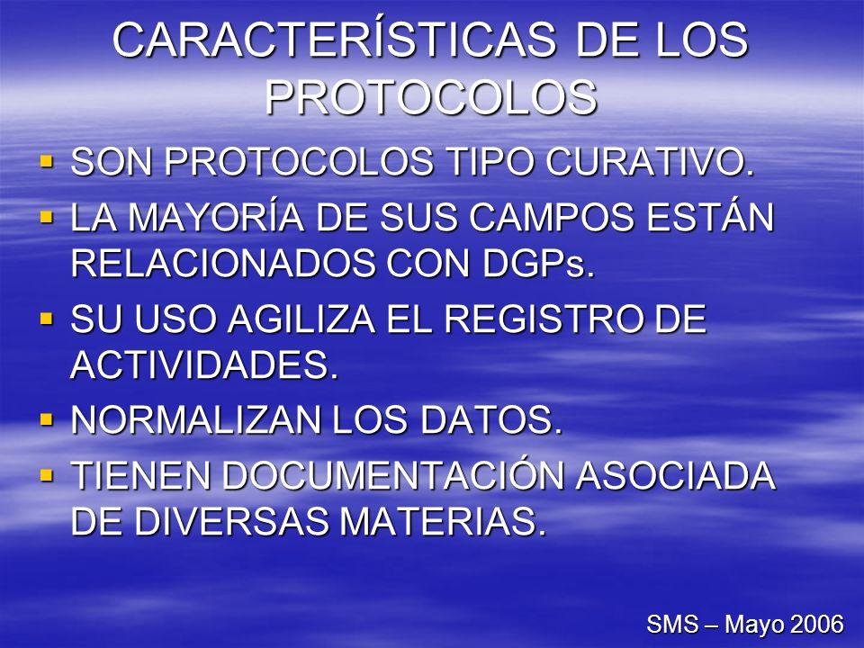 CARACTERÍSTICAS DE LOS PROTOCOLOS