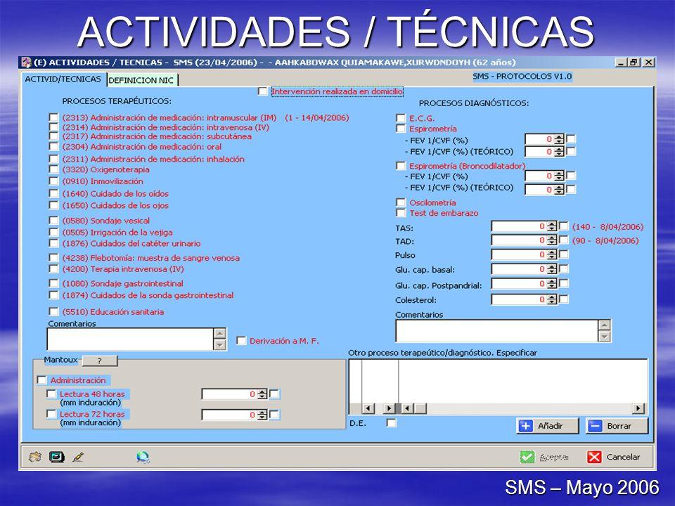 ACTIVIDADES / TÉCNICAS