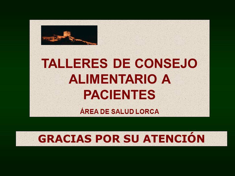 TALLERES DE CONSEJO ALIMENTARIO A PACIENTES GRACIAS POR SU ATENCIÓN