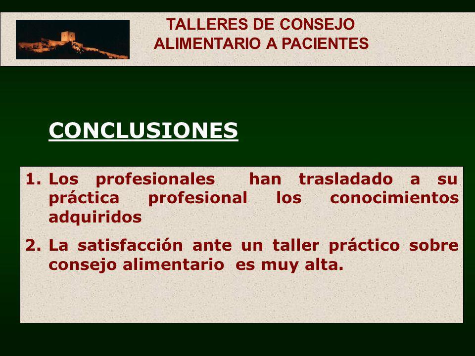 TALLERES DE CONSEJO ALIMENTARIO A PACIENTES
