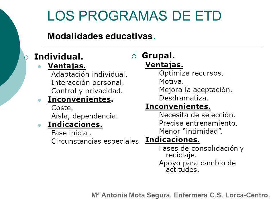 LOS PROGRAMAS DE ETD Modalidades educativas. Grupal. Individual.