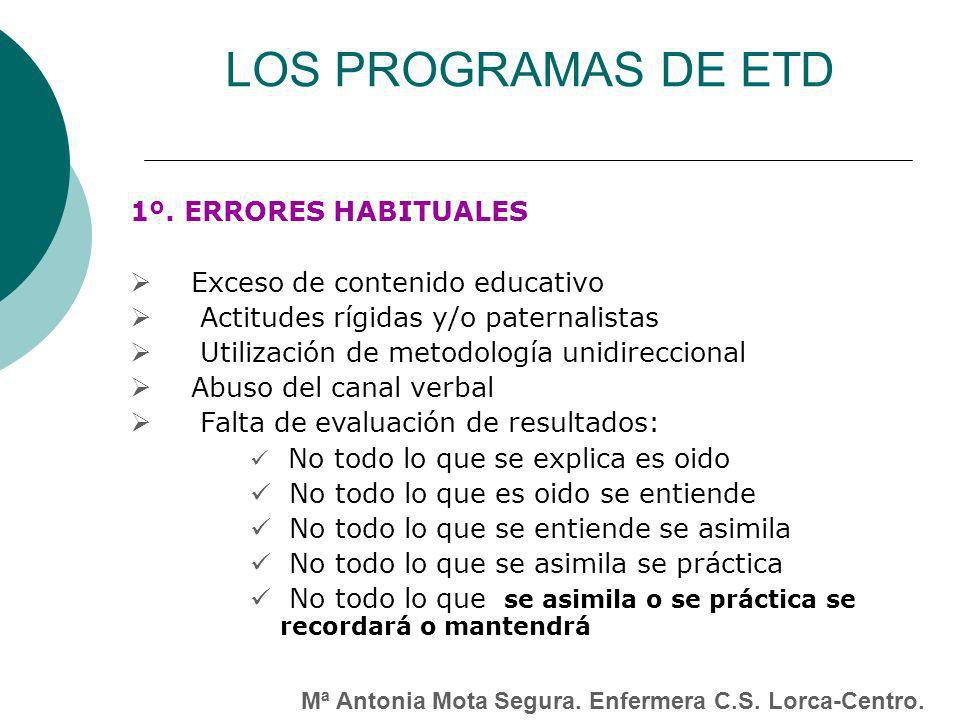 LOS PROGRAMAS DE ETD 1º. ERRORES HABITUALES