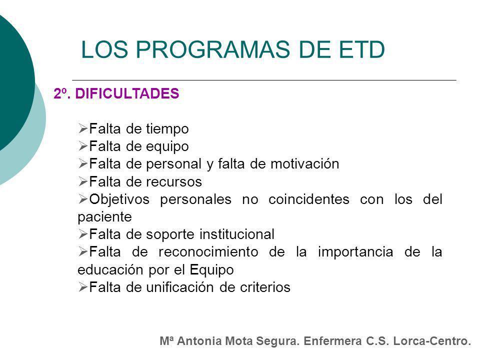 LOS PROGRAMAS DE ETD 2º. DIFICULTADES Falta de tiempo Falta de equipo