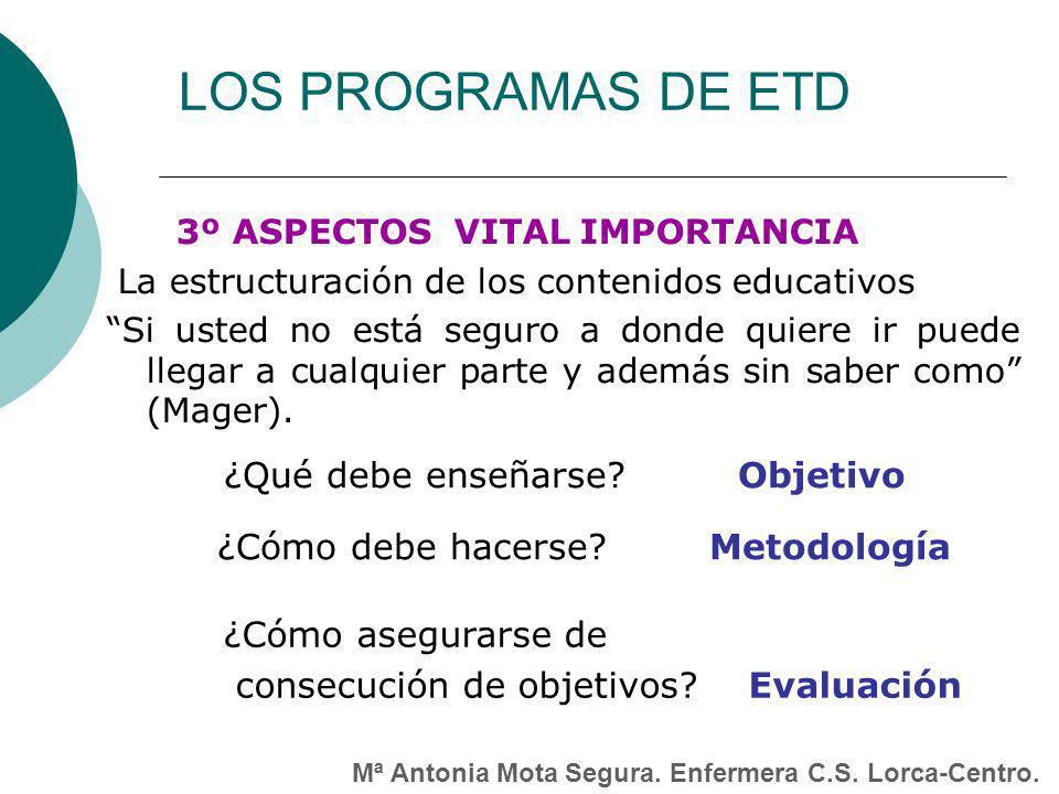 LOS PROGRAMAS DE ETD ¿Qué debe enseñarse Objetivo