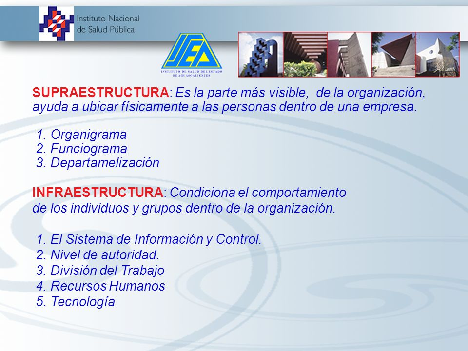 SUPRAESTRUCTURA: Es la parte más visible, de la organización, ayuda a ubicar físicamente a las personas dentro de una empresa.