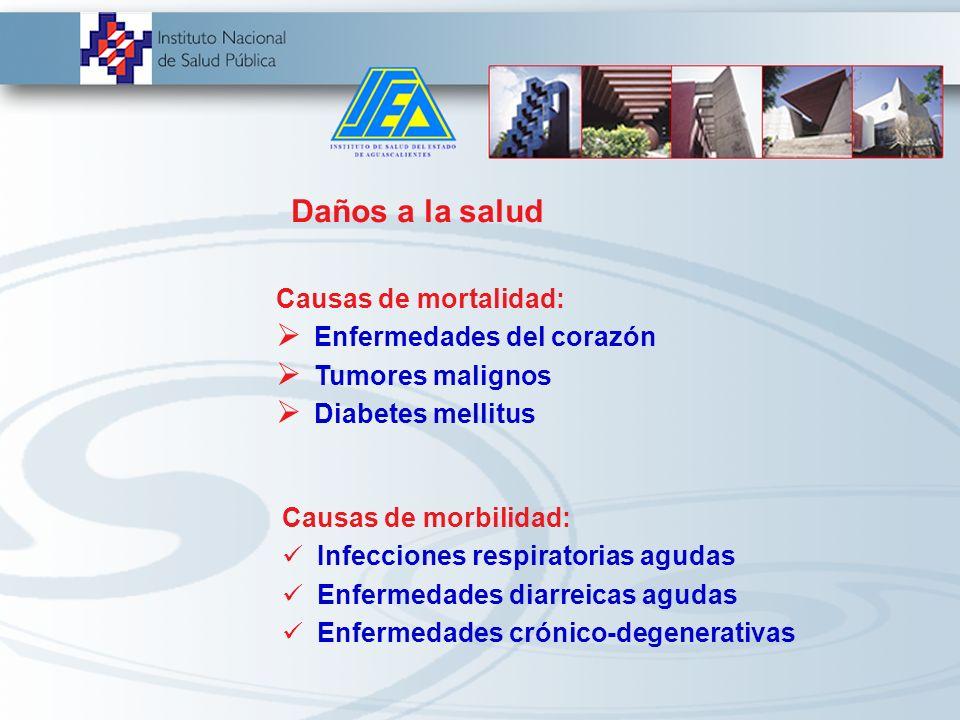 Daños a la salud Causas de mortalidad: Enfermedades del corazón. Tumores malignos. Diabetes mellitus.