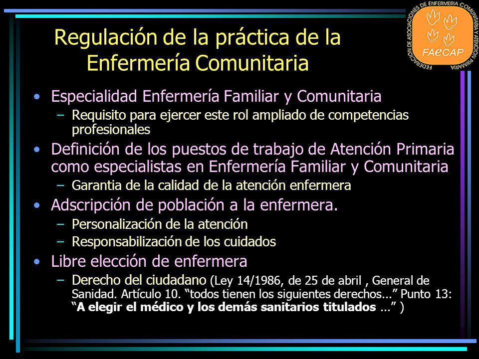 Regulación de la práctica de la Enfermería Comunitaria