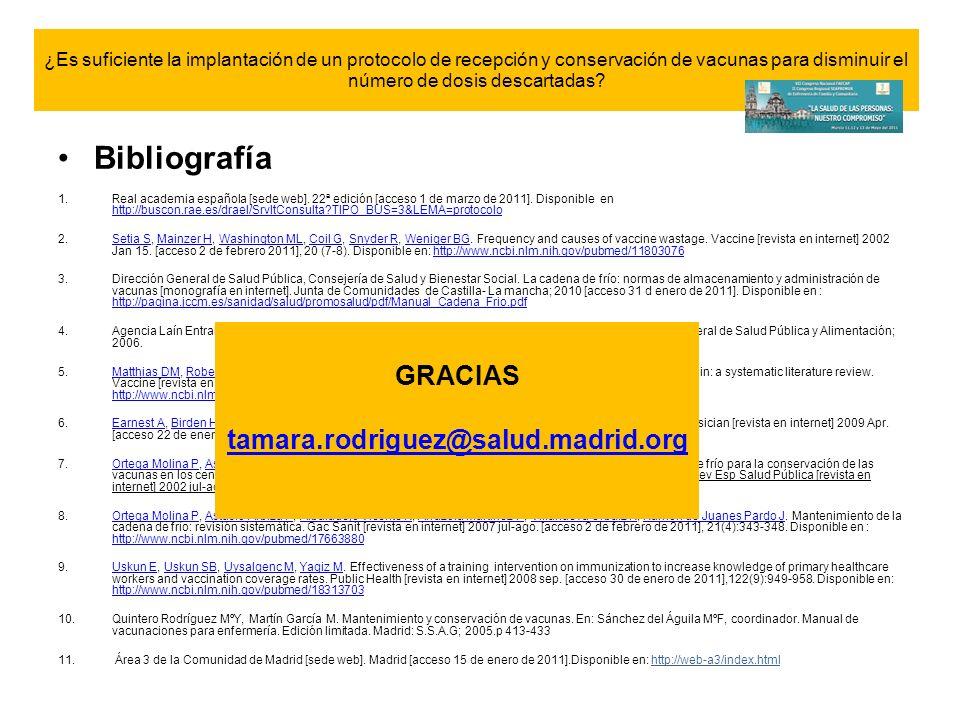 Bibliografía GRACIAS tamara.rodriguez@salud.madrid.org