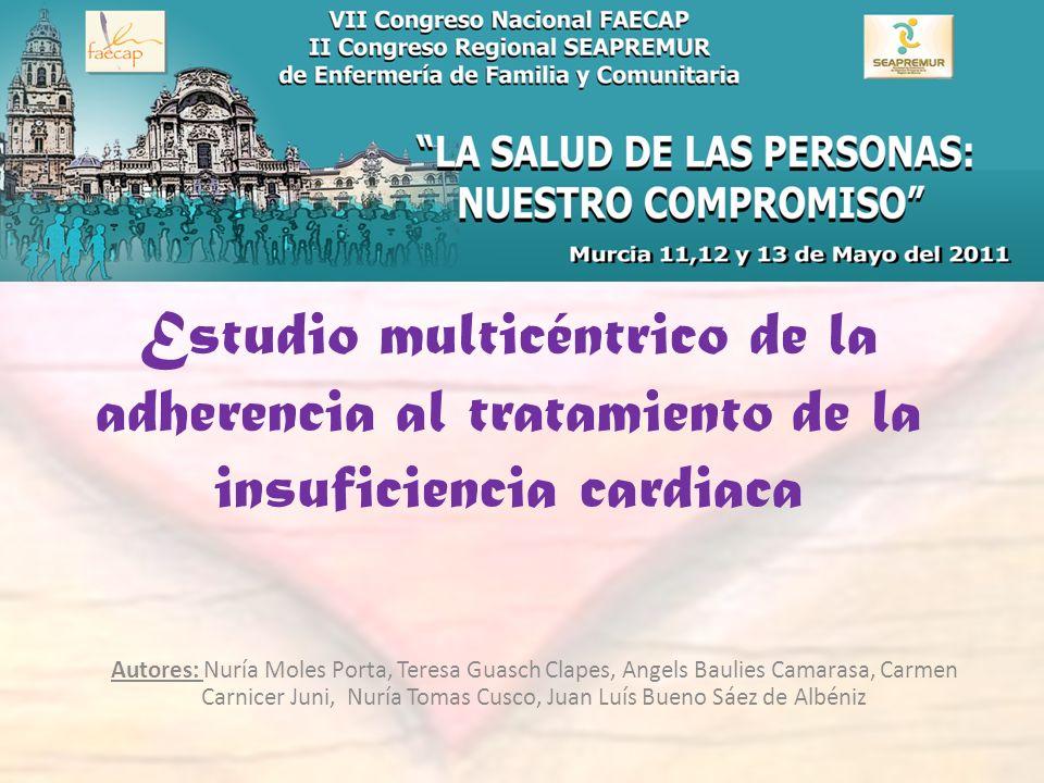 Estudio multicéntrico de la adherencia al tratamiento de la insuficiencia cardiaca