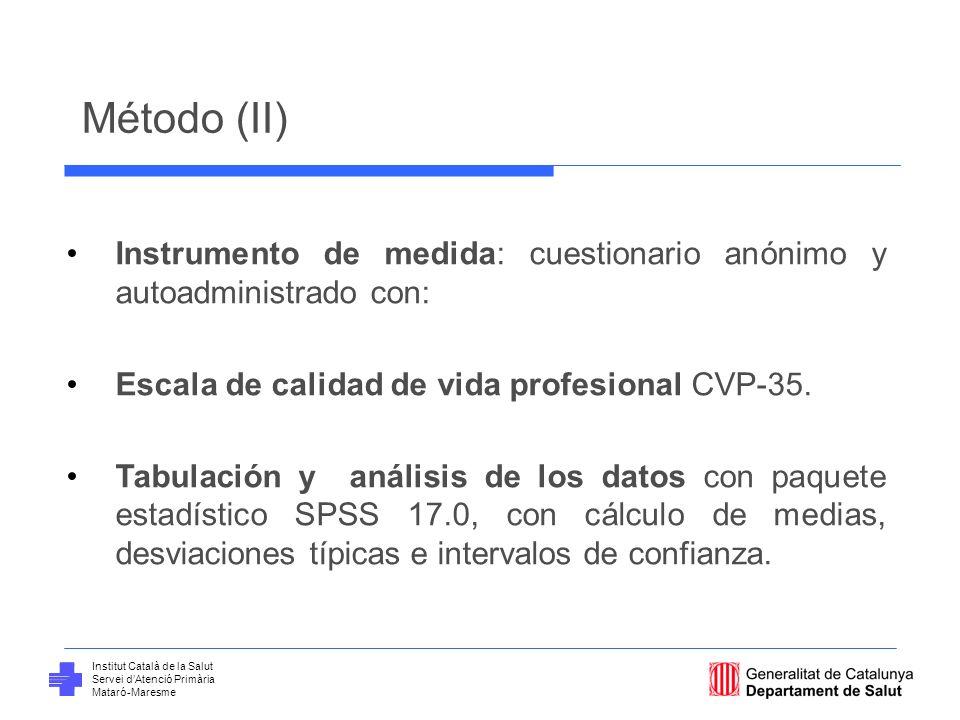 Método (II) Instrumento de medida: cuestionario anónimo y autoadministrado con: Escala de calidad de vida profesional CVP-35.