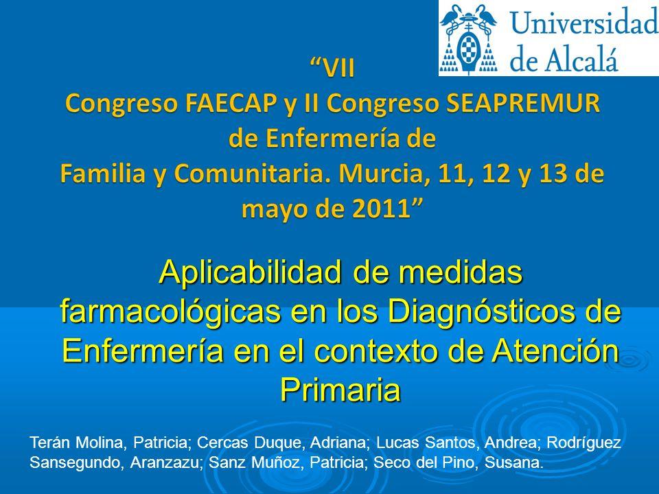 Aplicabilidad de medidas farmacológicas en los Diagnósticos de Enfermería en el contexto de Atención Primaria