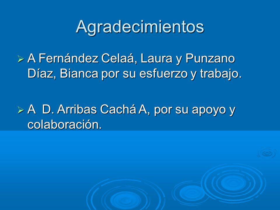 Agradecimientos A Fernández Celaá, Laura y Punzano Díaz, Bianca por su esfuerzo y trabajo.
