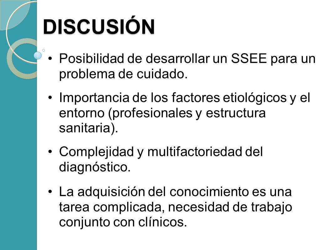 DISCUSIÓNPosibilidad de desarrollar un SSEE para un problema de cuidado.