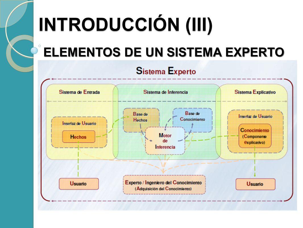 INTRODUCCIÓN (III) ELEMENTOS DE UN SISTEMA EXPERTO