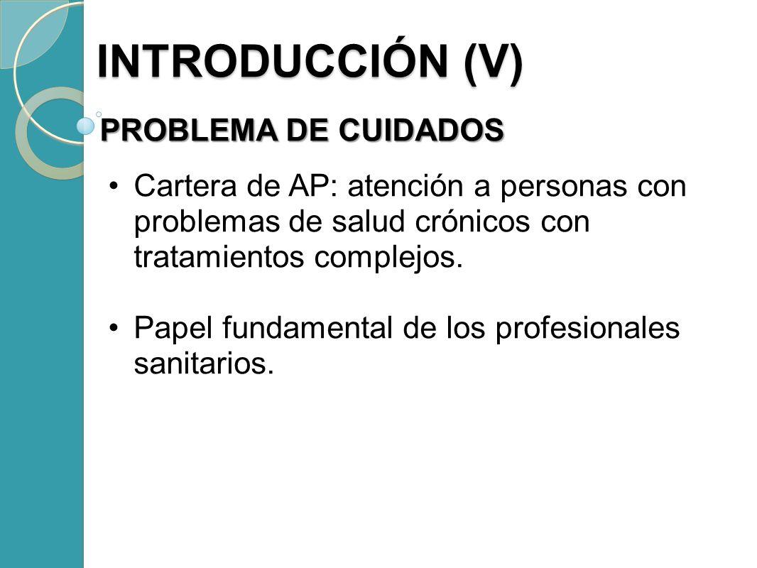 INTRODUCCIÓN (V) PROBLEMA DE CUIDADOS