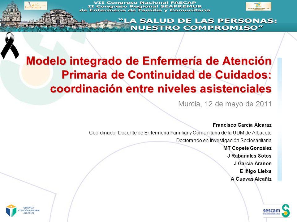 Modelo integrado de Enfermería de Atención Primaria de Continuidad de Cuidados: coordinación entre niveles asistenciales Murcia, 12 de mayo de 2011