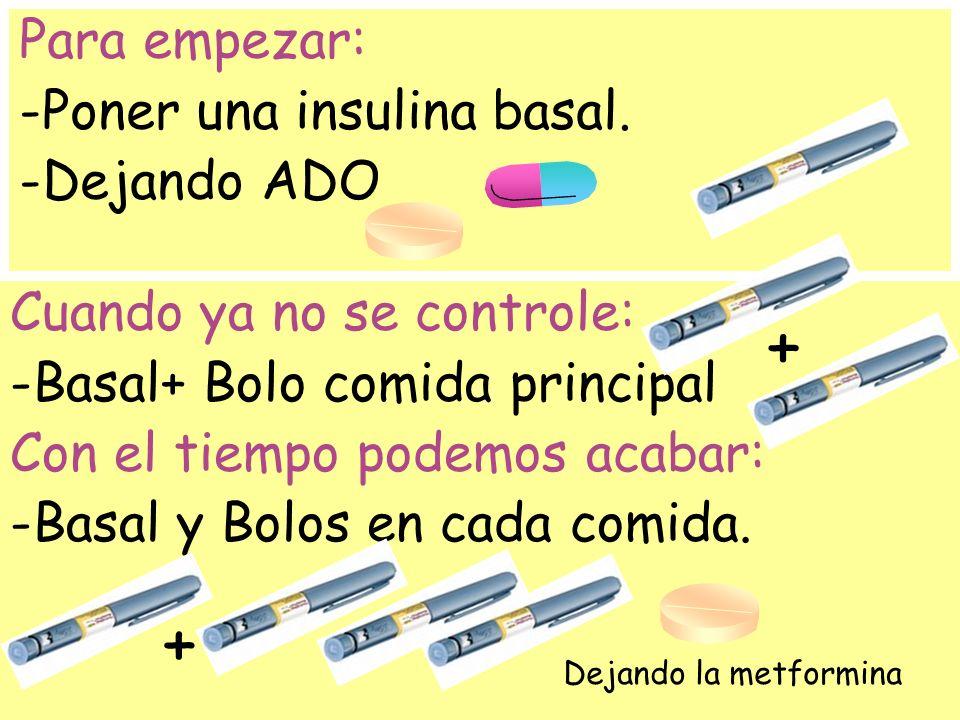+ + Para empezar: -Poner una insulina basal. -Dejando ADO