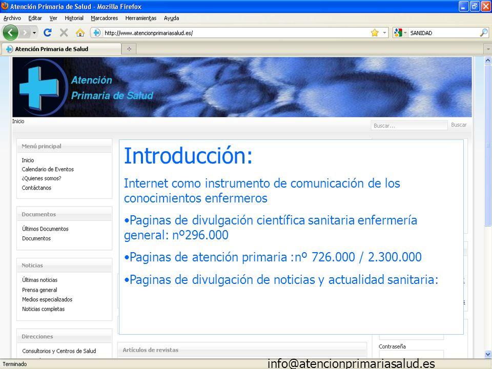 Introducción: Internet como instrumento de comunicación de los conocimientos enfermeros.