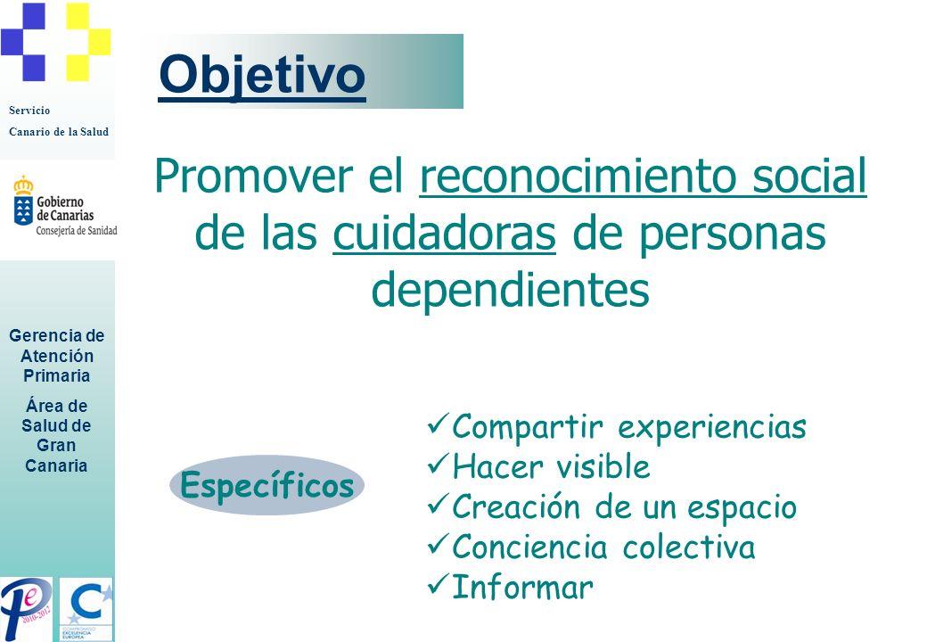 Objetivo Promover el reconocimiento social de las cuidadoras de personas dependientes. Compartir experiencias.