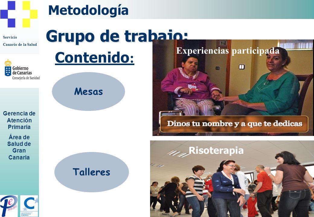 Grupo de trabajo: Contenido: Metodología Experiencias participada