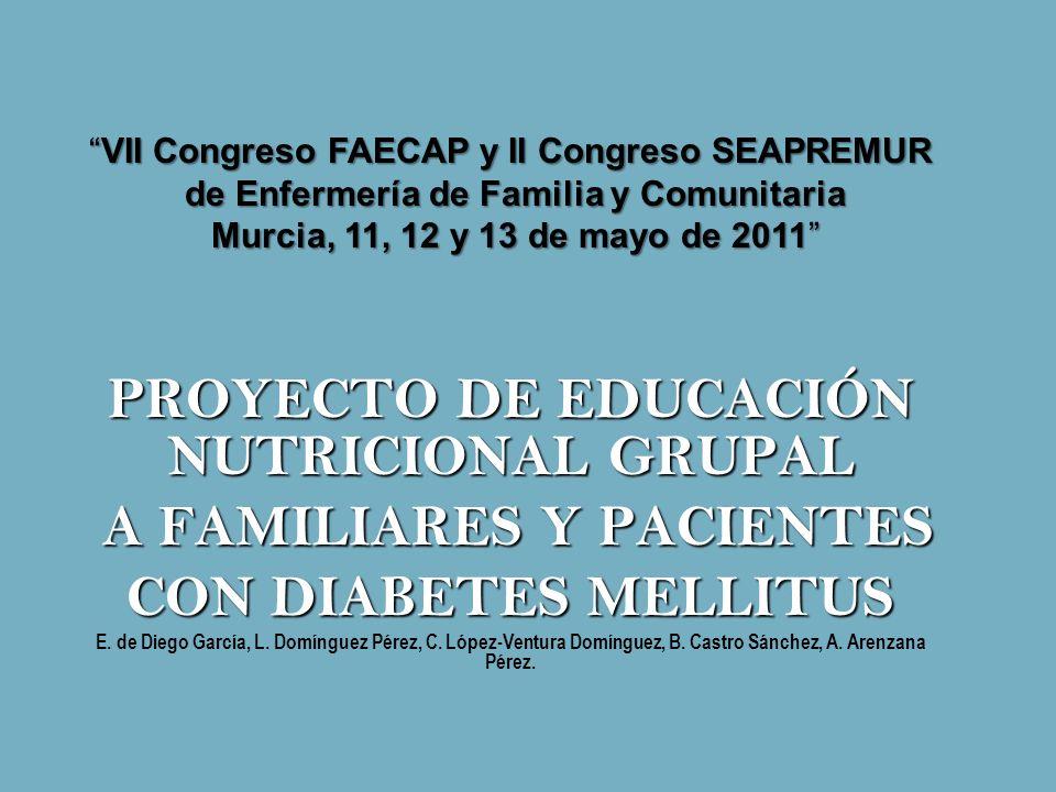 PROYECTO DE EDUCACIÓN NUTRICIONAL GRUPAL A FAMILIARES Y PACIENTES