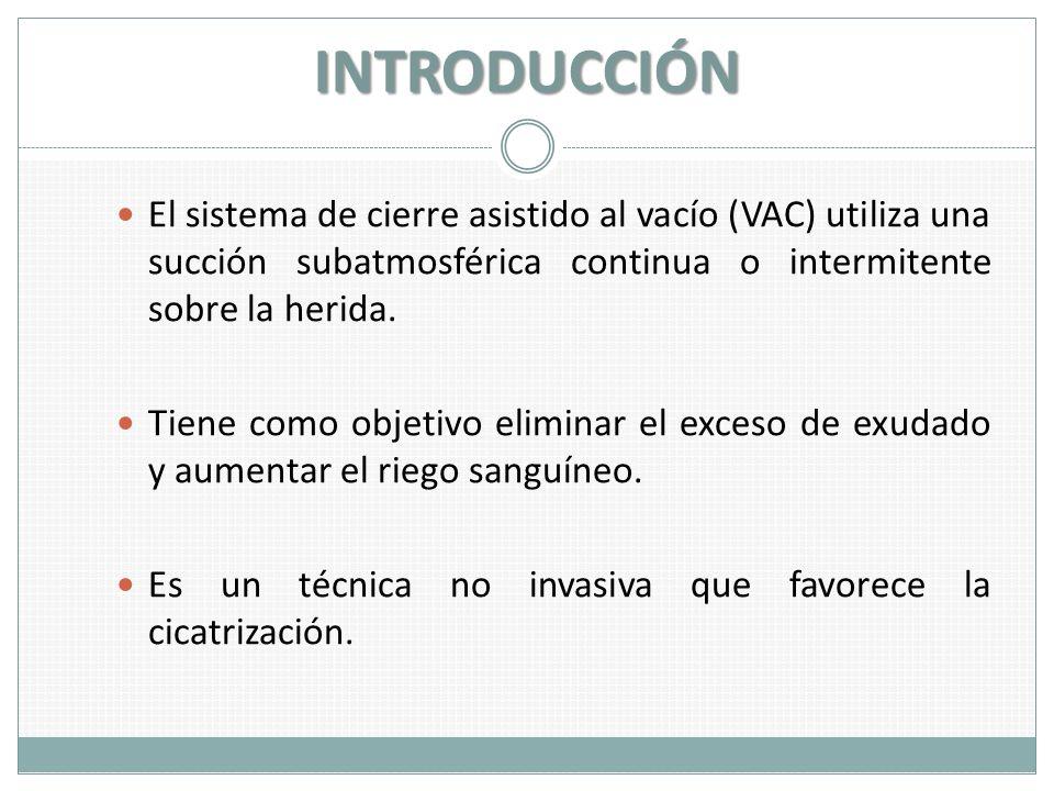 INTRODUCCIÓN El sistema de cierre asistido al vacío (VAC) utiliza una succión subatmosférica continua o intermitente sobre la herida.