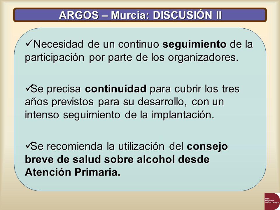 ARGOS – Murcia: DISCUSIÓN II