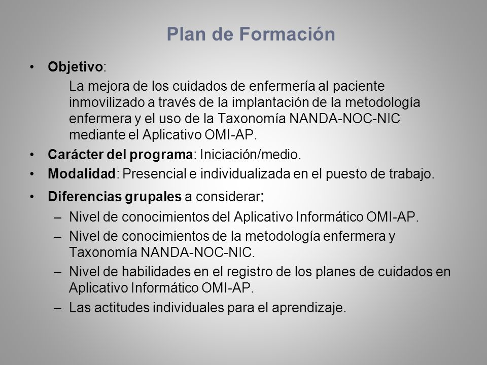 Plan de Formación Objetivo: