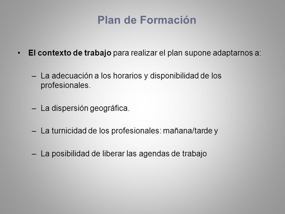 Plan de Formación El contexto de trabajo para realizar el plan supone adaptarnos a: