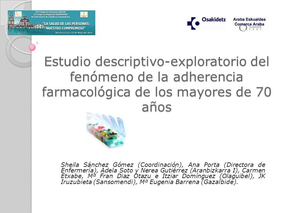 Estudio descriptivo-exploratorio del fenómeno de la adherencia farmacológica de los mayores de 70 años